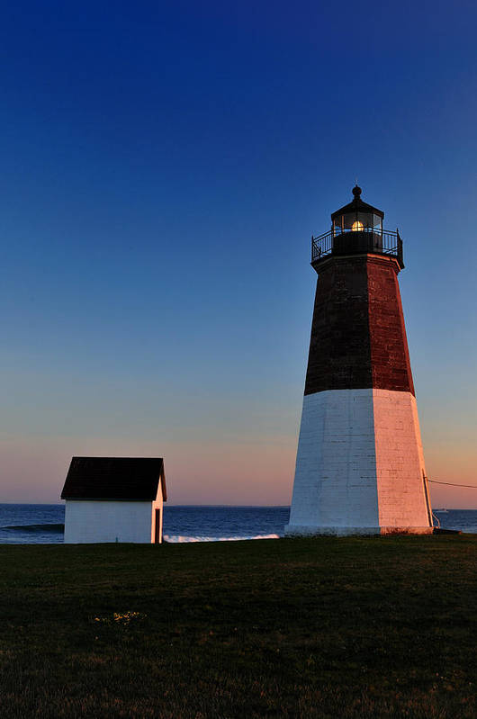 Point Judith Art Print featuring the photograph Point Judith- Sidelit At Sunset by Thomas Schoeller