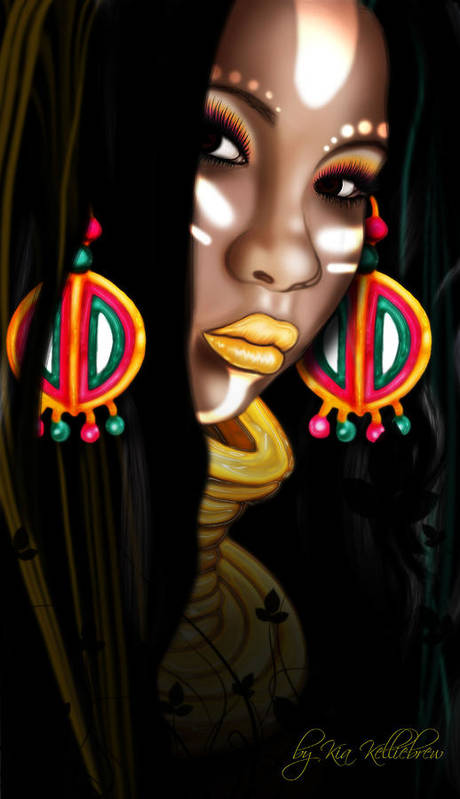 African Art Print featuring the digital art African Princess by Kia Kelliebrew