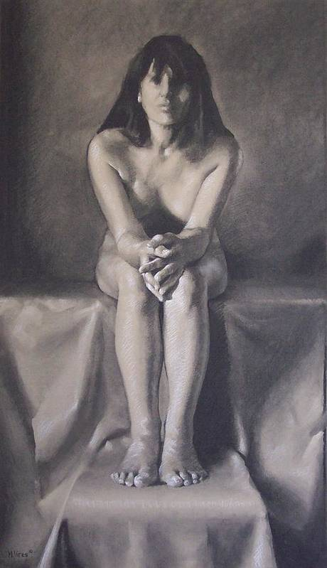 Charcoal Art Print featuring the drawing Hands by Michael Vires