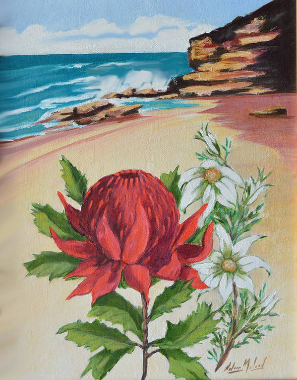 Wildflower Study Art Print featuring the painting Wildflowers And Headland by Aileen McLeod