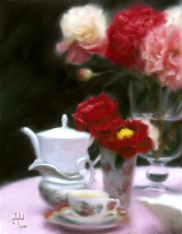Peonies Art Print featuring the digital art Afternnon Tea With Peonies by Stephen Lucas