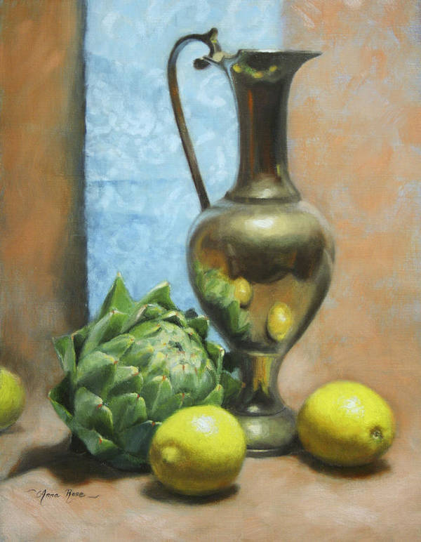Still Life Art Print featuring the painting Artichoke And Lemons by Anna Rose Bain