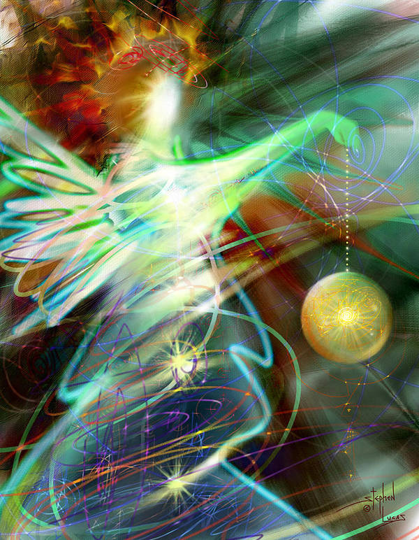 Angel Print featuring the digital art Lite Brought Forth By The Archkeeper by Stephen Lucas