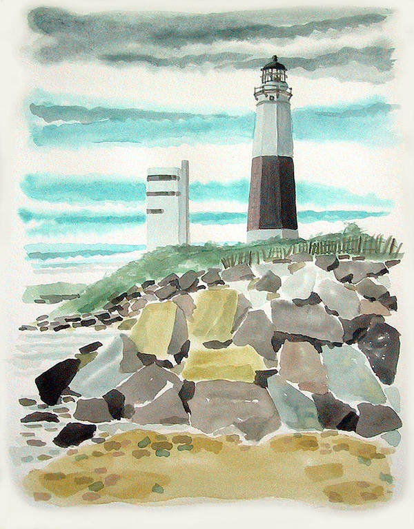Art Print featuring the painting Montauk Lighthouse by Ralph Papa