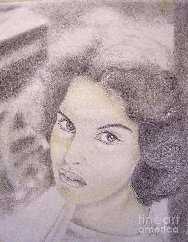 Ornella Vanoni Art Print featuring the drawing Ornella Vanoni Portrait by Oscar Arauz