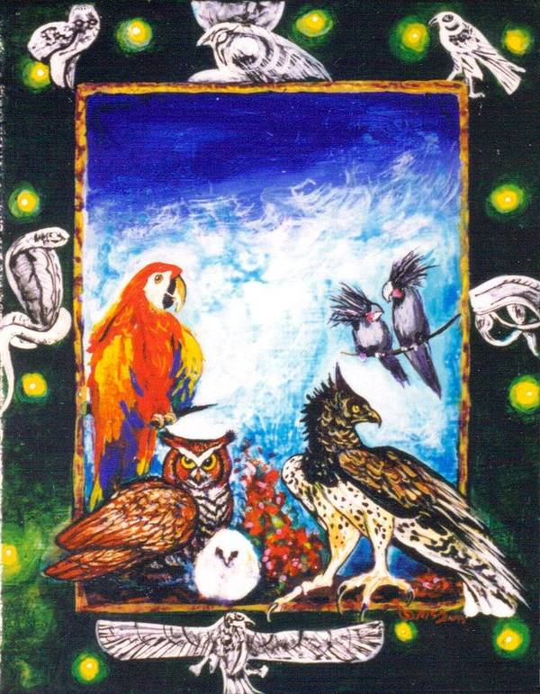 Art Print featuring the painting Parrot And Eagle by Christine McGinnis