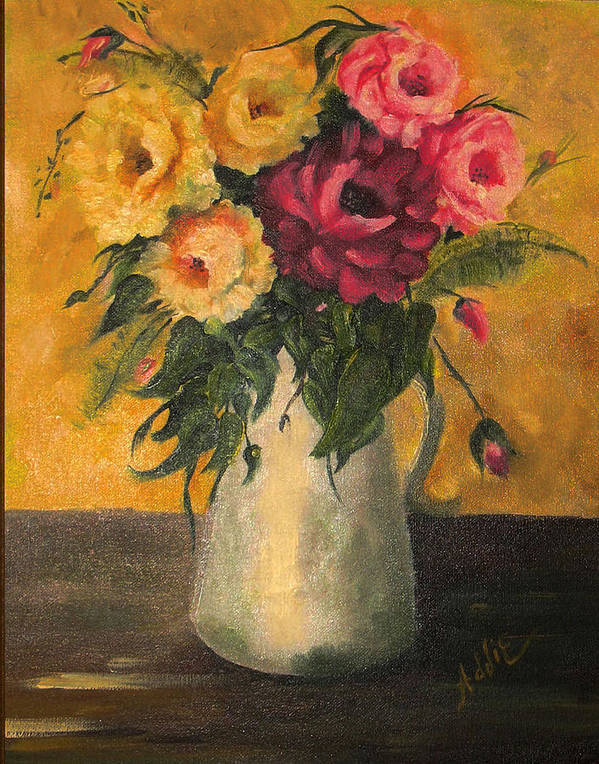 Flowers Art Print featuring the painting Still Life With Flowers by Addie Coppola