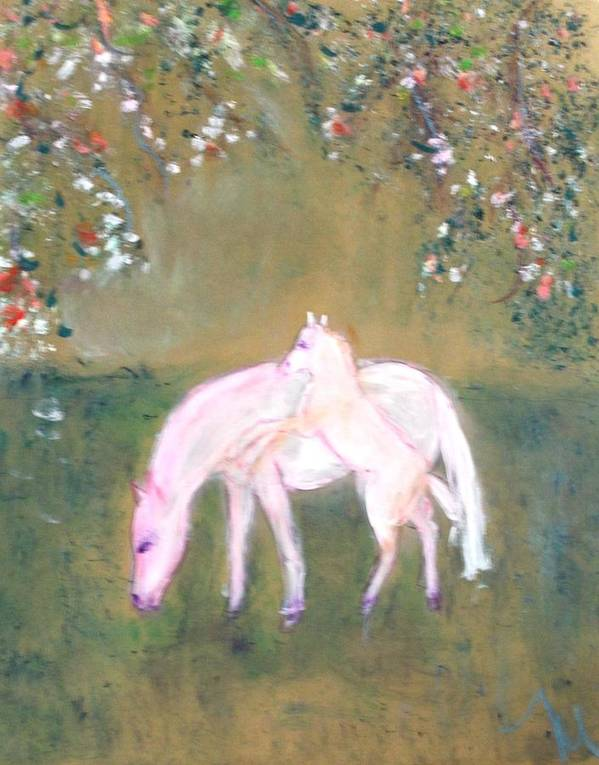 Horses Art Print featuring the painting Young Horses In Spring by Michela Akers