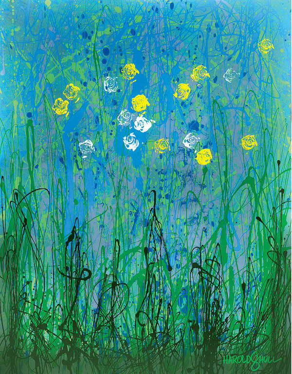 Abstract Flowers Art Print featuring the painting Spring Neglect by Harold Shull
