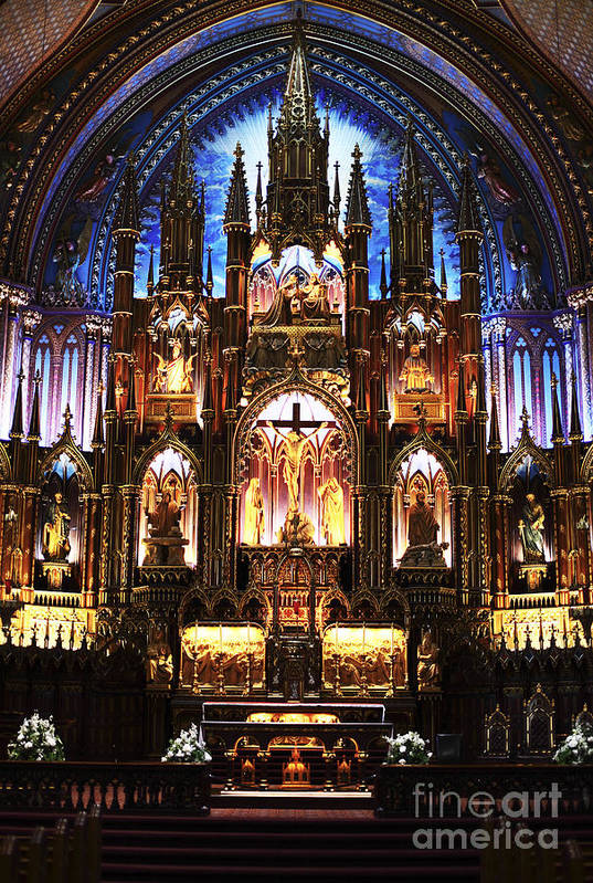 Notre Dame Interior Art Print featuring the photograph Notre Dame Interior by John Rizzuto