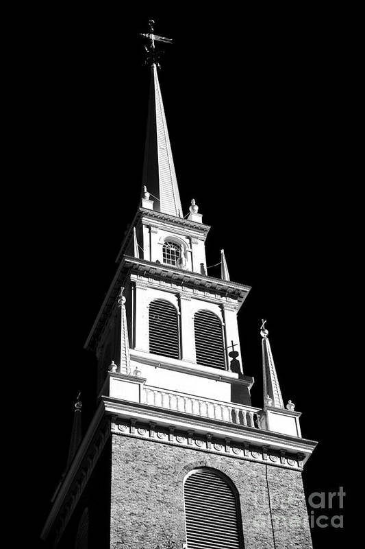 Old North Church Star Art Print featuring the photograph Old North Church Star by John Rizzuto