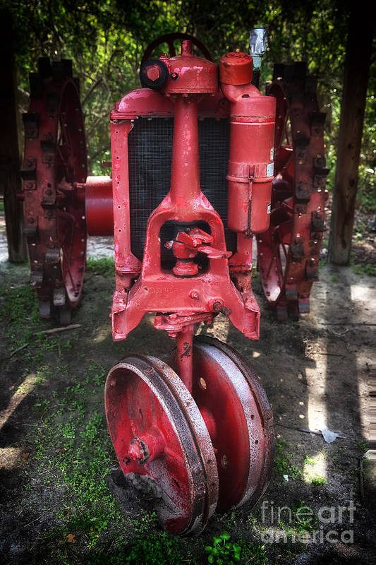 Red Tractor Art Print featuring the photograph Red Tractor by John Rizzuto