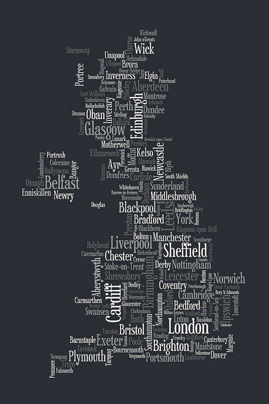United Kingdom Art Print featuring the digital art Great Britain Uk City Text Map by Michael Tompsett