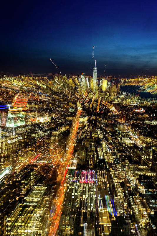 New York Art Print featuring the photograph Animated City by Mercedes Noriega