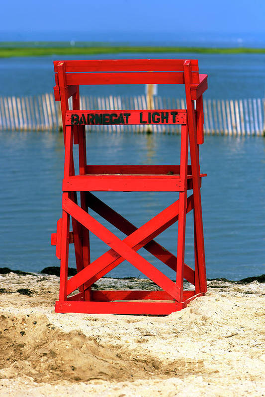 Barnegat Light Lifeguard Chair Art Print featuring the photograph Barnegat Light Lifeguard Chair by John Rizzuto