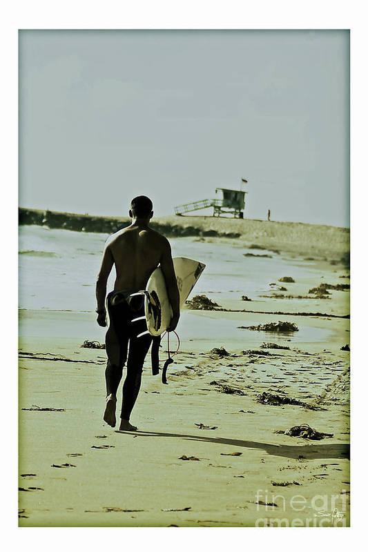 Surfer Art Print featuring the photograph California Surfer by Scott Pellegrin