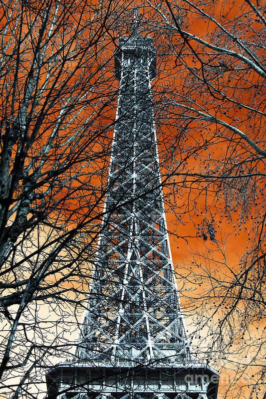 Eiffel Tower Behind The Trees Pop Art Art Print featuring the photograph Eiffel Tower Behind The Trees Pop Art by John Rizzuto