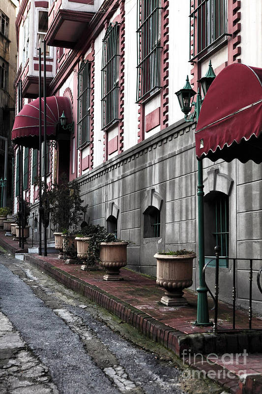 Red Awning Art Print featuring the photograph Red Awning by John Rizzuto