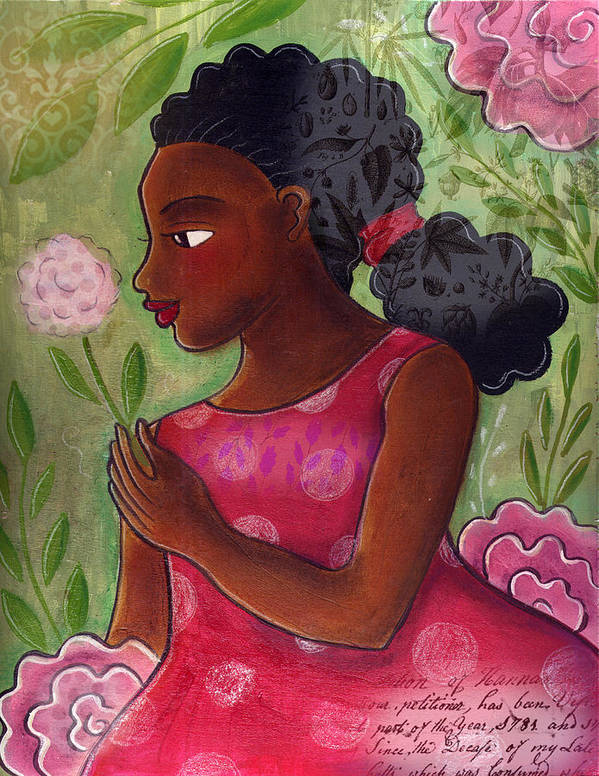 African American Art Print featuring the mixed media Dandelion by Elaine Jackson