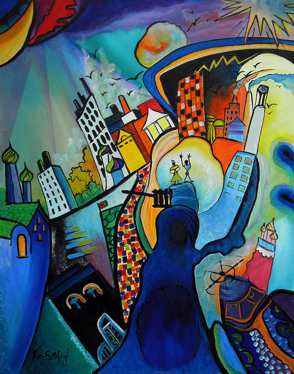 Oil On Canvas Art Print featuring the painting Downtown by Ken Caffey