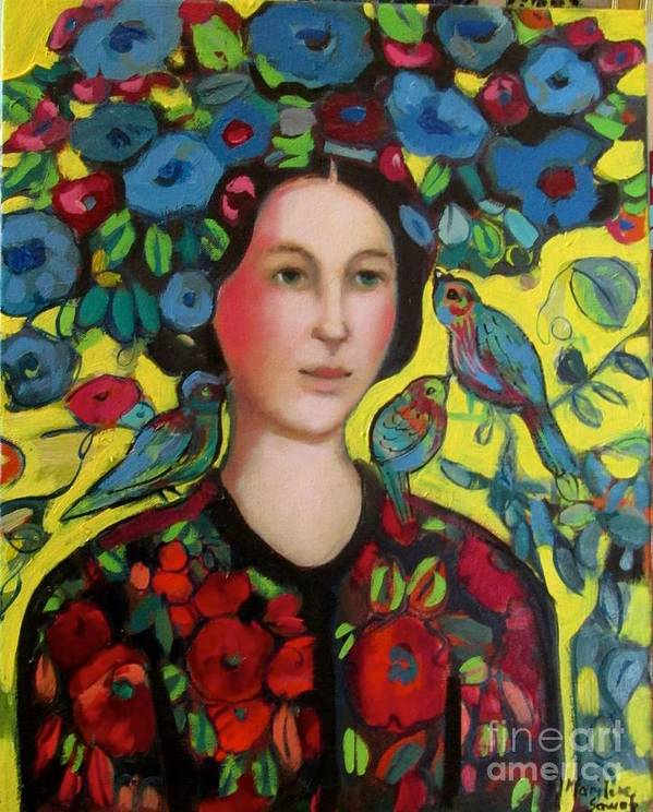 Marilene Sawaf Art Print featuring the painting Lady and hat by Marilene Sawaf