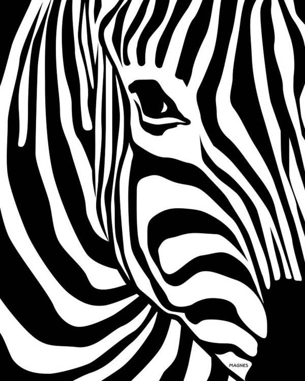 Zebra Art Print featuring the digital art Zebra by Ron Magnes