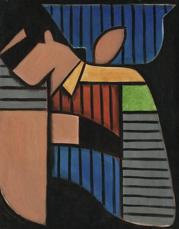 Batman Art Print featuring the painting Cubism Batman And Robin Art Print by Tommervik