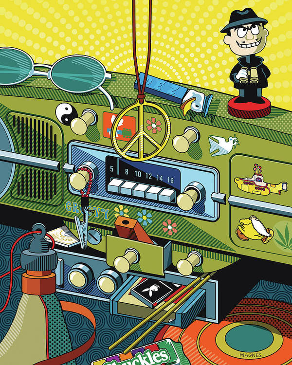 Sixties Art Print featuring the digital art Road Trip '69 by Ron Magnes