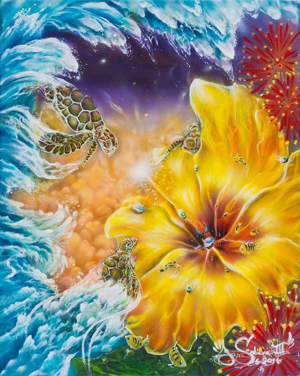 Aloha! Honu Hawaii Art Hibiscus Coral Reefs Flowers Floral Reefs Art Print featuring the painting Wave of the Honu by Joel Salinas III