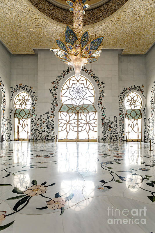 Inside Sheikh Zayed Grand Mosque Abu Dhabi Art Print By Matteo Colombo