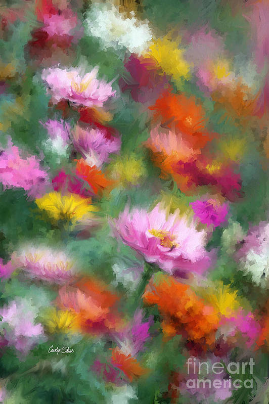 Flowers Zinnias Bright Colorful Garden Impressionist Cubist Art Print featuring the painting Celebration by Carolyn Staut
