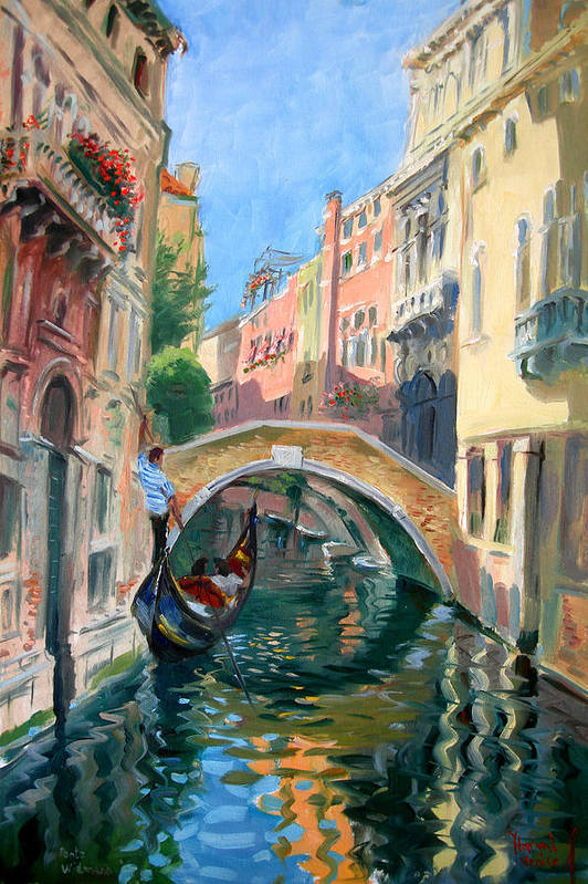Venice Art Print featuring the painting Venice Ponte Widmann by Ylli Haruni
