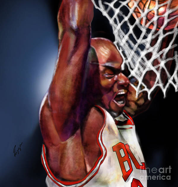 Michael Jordan Art Print featuring the painting Eclipsing The Moon - Jordan by Reggie Duffie