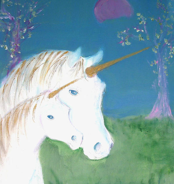 Magic Landscape Art Print featuring the painting Amid The Unicorns by Michela Akers