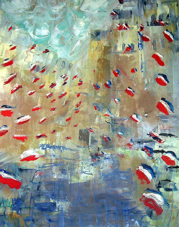 Patriotism Art Print featuring the painting After Monet's Rue Montorgueil by Michela Akers