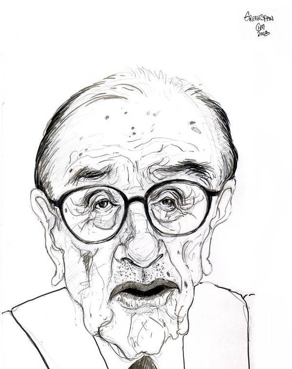Political Satire Cartoon Graphite Drawing Art Print featuring the drawing Alan Greenspan by Cartoon Hempman