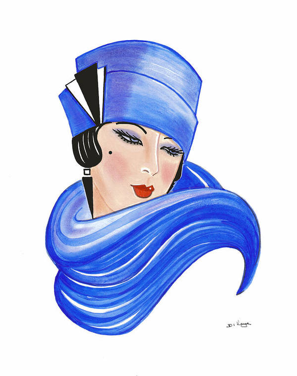 Art Deco Lady Fleur Art Print