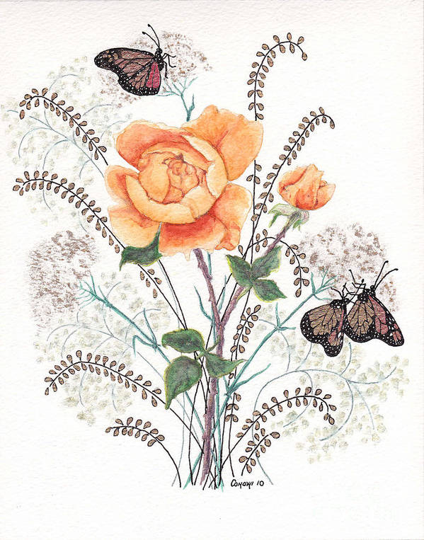Roses Art Print featuring the painting As I Ride The Butterfly by Stanza Widen