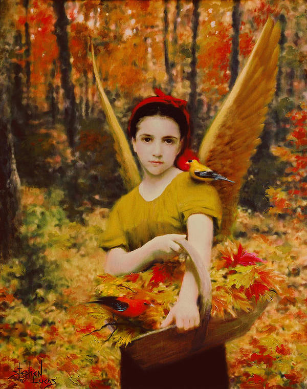 Angel Art Print featuring the painting Autumn Angels by Stephen Lucas
