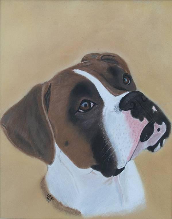 Boxer Art Print featuring the painting Boxer Portrait by Lori DeBruijn