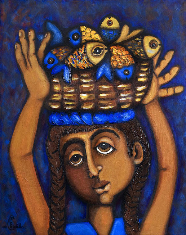 Girl Art Print featuring the painting Gratefulness by Claudia Padilla