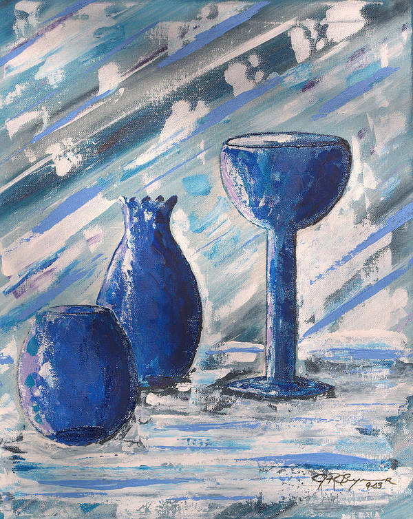 Vases Art Print featuring the painting My Blue Vases by J R Seymour