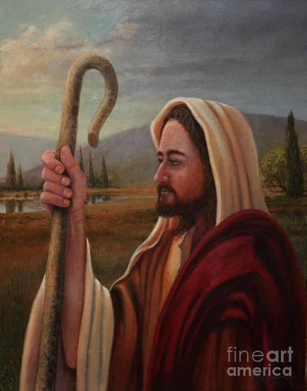 Shepherd Art Print featuring the painting My Shepherd by Michael Nowak