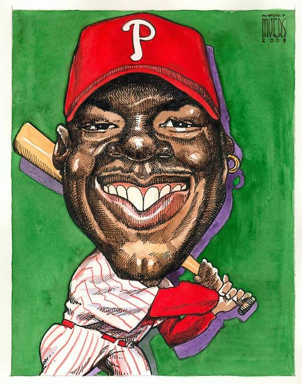 Sports Art Print featuring the painting Phillies by Robert Myers