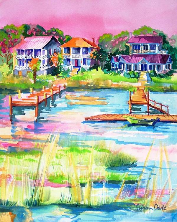 Seascape Art Print featuring the painting Summer Evening by Susan Dade