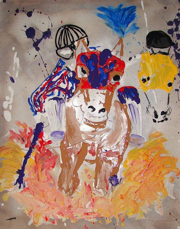 Horse Art Print featuring the mixed media Taking The Lead by J R Seymour