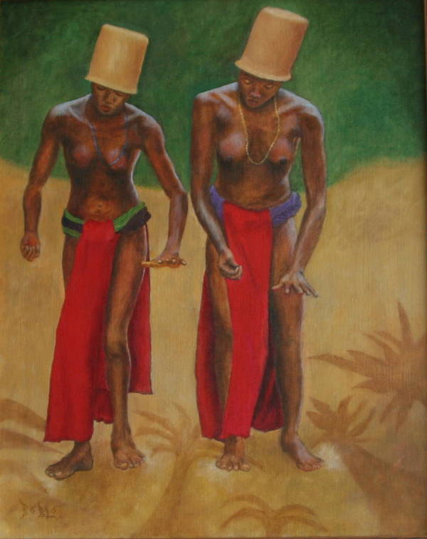 Oil Art Print featuring the painting Tribal Dancers by Rf Hauver