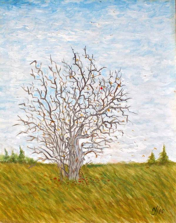 Tree Art Print featuring the painting When The Apples Are Gone by Norman F Jackson
