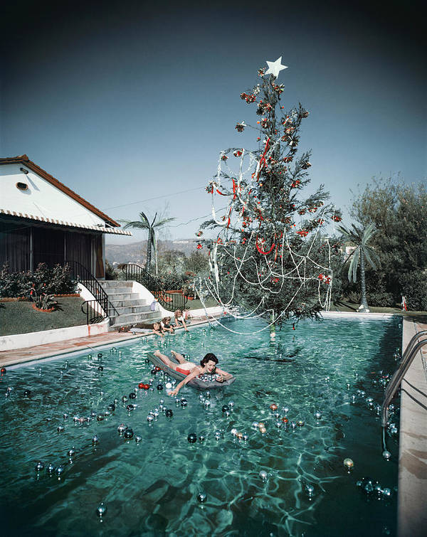 People Art Print featuring the photograph Christmas Swim by Slim Aarons