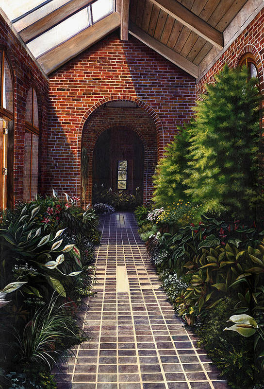 Greenhouse At Kingwood Center In Mansfield Ohio Art Print featuring the painting Kingwood by Terri Meyer